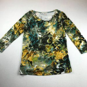 Christopher & Banks Top Size S Waterfall Neckline Abstract Print Multicolor
